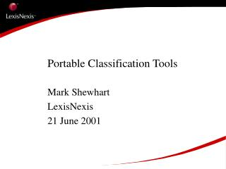 Portable Classification Tools
