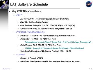 LAT Software Schedule
