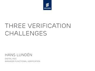 Three Verification Challenges