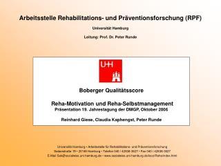 Universität Hamburg  • Arbeitsstelle für Rehabilitations- und Präventionsforschung