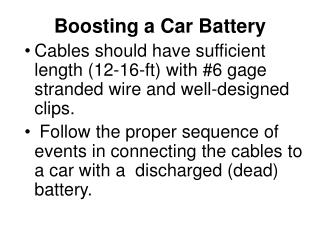 Boosting a Car Battery