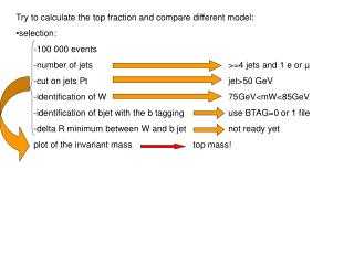 Try to calculate the top fraction and compare different model:  selection: -100 000 events