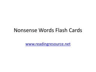 Nonsense Words Flash Cards