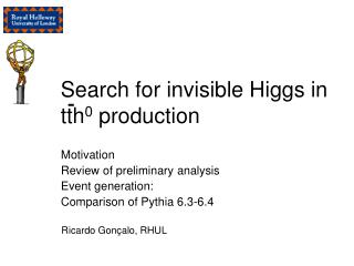 Search for invisible Higgs in tth 0  production