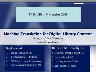 Machine Translation for Digital Library Content