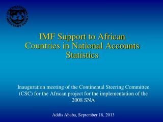 IMF Support to African Countries in National Accounts Statistics