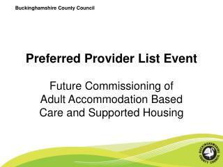 Preferred Provider List Event