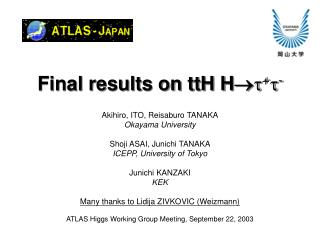 Final results on ttH H   +  -