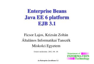 Enterprise Beans Java EE  6  platform EJB 3.1