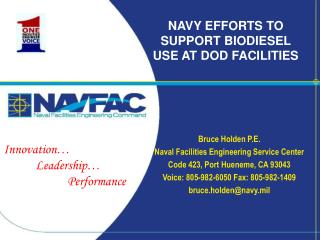 NAVY EFFORTS TO SUPPORT BIODIESEL USE AT DOD FACILITIES