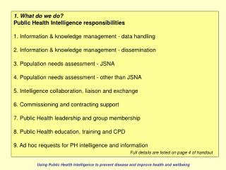 1. What do we do? Public Health Intelligence responsibilities
