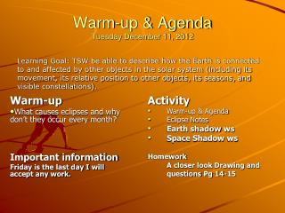 Warm-up & Agenda Tuesday December 11, 2012
