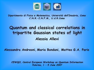 CEWQO, Central European Workshop on Quantum Information Palermo, 1 – 5 June 2007