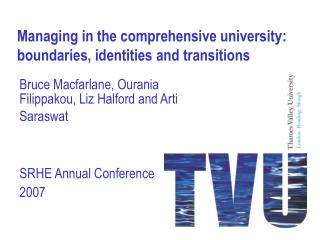 Managing in the comprehensive university: boundaries, identities and transitions