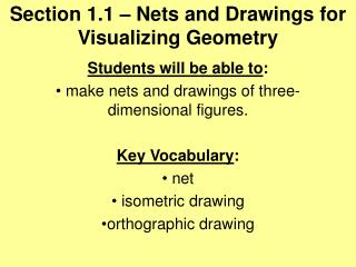Section 1.1 – Nets and Drawings for Visualizing Geometry