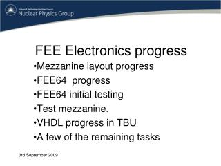 FEE Electronics progress