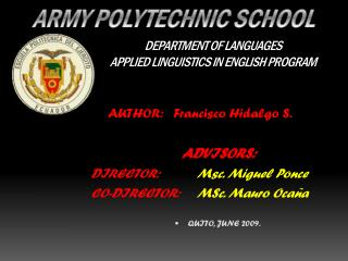 DEPARTMENT OF LANGUAGES APPLIED LINGUISTICS IN ENGLISH PROGRAM