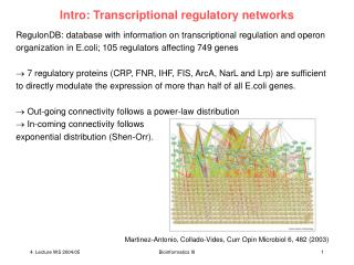 Intro: Transcriptional regulatory networks