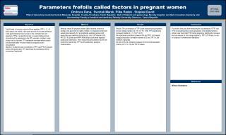 P arameters frefoils called factors in pregnant women