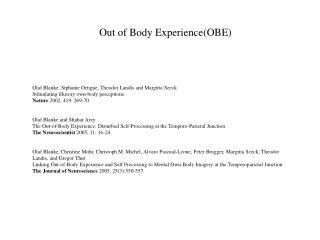 Out of Body Experience(OBE)