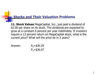 Stocks and Their Valuation Problems