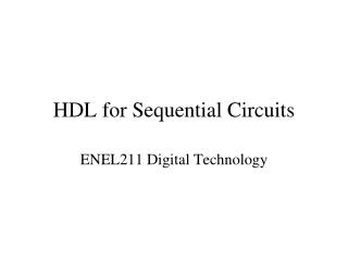 HDL for Sequential Circuits