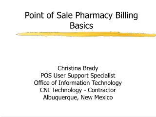 Point of Sale Pharmacy Billing Basics