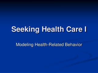 Seeking Health Care I