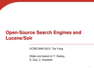 Open-Source Search Engines and Lucene/Solr