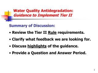 Water Quality Antidegradation:  Guidance to Implement Tier II