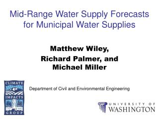 Mid-Range Water Supply Forecasts for Municipal Water Supplies