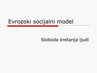 Evropski socijalni model