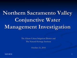 Northern Sacramento Valley Conjunctive Water Management Investigation