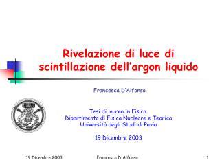 Rivelazione di luce di scintillazione dell'argon liquido