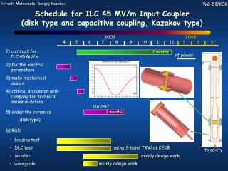 Schedule for ILC 45 MV/m Input Coupler (disk type and capacitive coupling, Kazakov type)