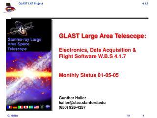GLAST Large Area Telescope: Electronics, Data Acquisition & Flight Software W.B.S 4.1.7