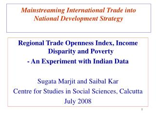 Mainstreaming International Trade into National Development Strategy