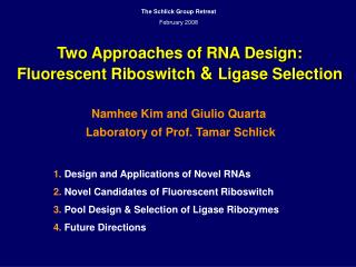 Two Approaches of RNA Design: Fluorescent Riboswitch  &  Ligase Selection