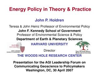 Energy Policy in Theory & Practice