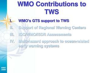 WMO Contributions to TWS