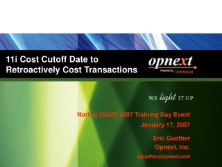 11i Cost Cutoff Date to Retroactively Cost Transactions
