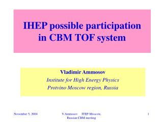 IHEP possible participation   in CBM TOF system