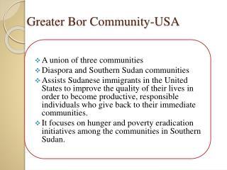 Greater Bor Community-USA