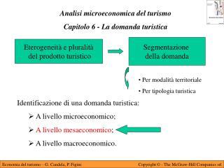 Analisi microeconomica del turismo Capitolo 6 - La domanda turistica