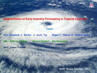 Augmentation of Early Intensity Forecasting in Tropical Cyclones Teams: