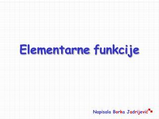 Elementarne funkcije
