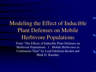 Modeling the Effect of Inducible Plant Defenses on Mobile Herbivore Populations