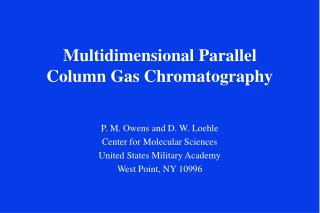 Multidimensional Parallel Column Gas Chromatography