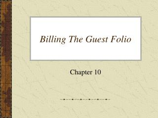 Billing The Guest Folio