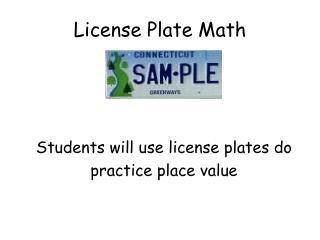 License Plate Math